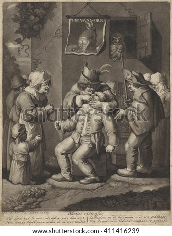 The Five Sense: Feeling, by Pieter Schenk, Jan Both and Andries Both, 1670-1713, Dutch print. Etching on paper. Bystanders watch as a dentist treats a patient in the outdoors. The earthy print featur