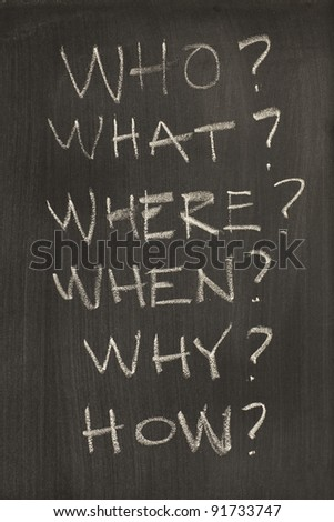 The five W and one H, used by journalists and the police for interrogation - stock photo