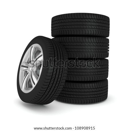 the five wheels isolated on white background - stock photo