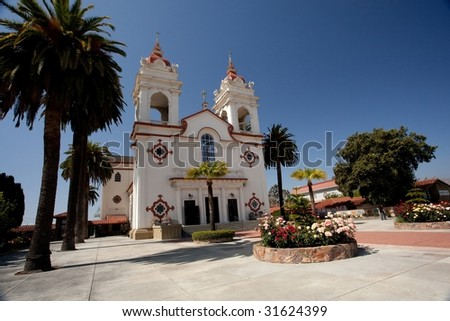 The Five Wounds Portuguese National Church is the heart and soul of the Portuguese Community in Santa Clara Valley. The Five Wounds Parish was dedicated by Father Henrique Ribeiro on November 8, 1914. - stock photo
