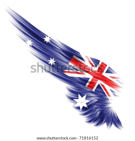 The flag of Australia on Abstract wing and white background - stock photo
