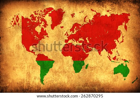 The flag of Belarus in the outline of the world map - stock photo