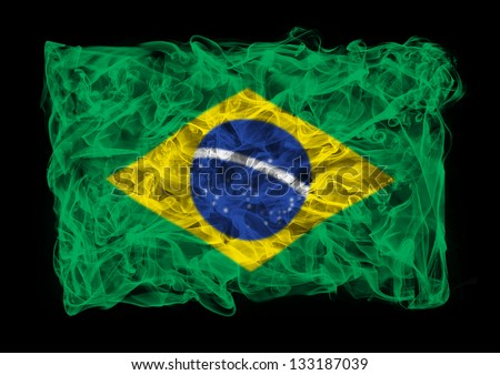 The flag of Brasil consists of a smoke - stock photo