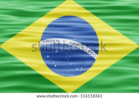 The flag of Brazil on water