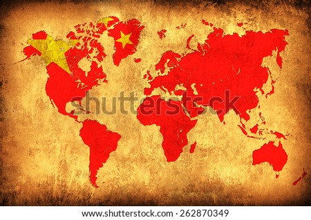 The flag of China in the outline of the world map - stock photo