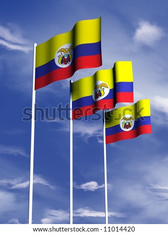 The flag of Colombia flies in a soft breeze - stock photo