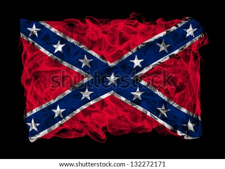 The flag of Confederate States of America consists of a smoke - stock photo