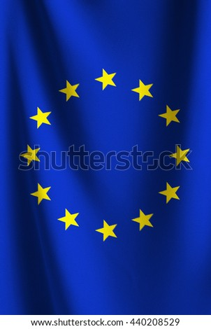 The flag of EU or European Union. Vertical fabric flag for several concept ; business,political,finencial,currency and symbolizing in any occasional ; National day,sport,travel,holiday  - stock photo
