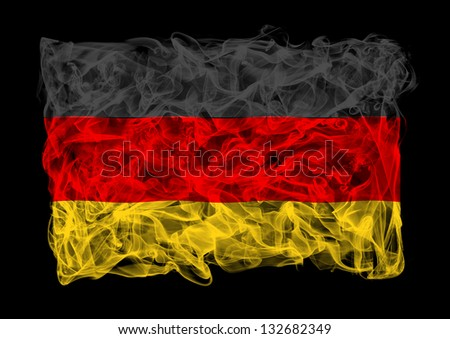 The flag of Germany consists of a smoke - stock photo