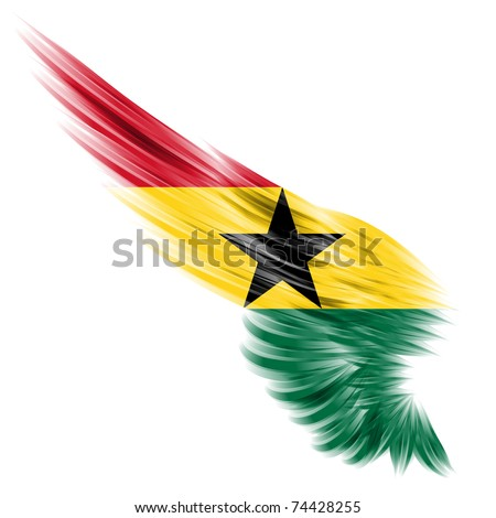 The flag of Ghana on wing and white background - stock photo
