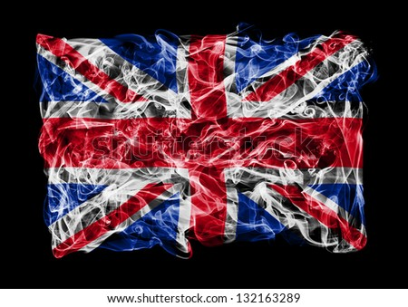 The flag of Great Britain consists of a smoke - stock photo