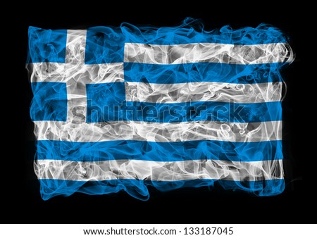 The flag of Greece consists of a smoke - stock photo