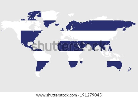 The flag of Greece  in the outline of the world - stock photo