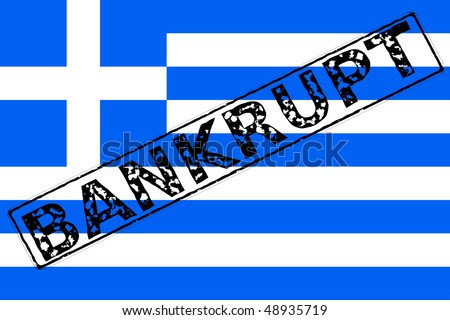 The flag of Greece with a rubber stamping effect of Bankrupt over it - stock photo
