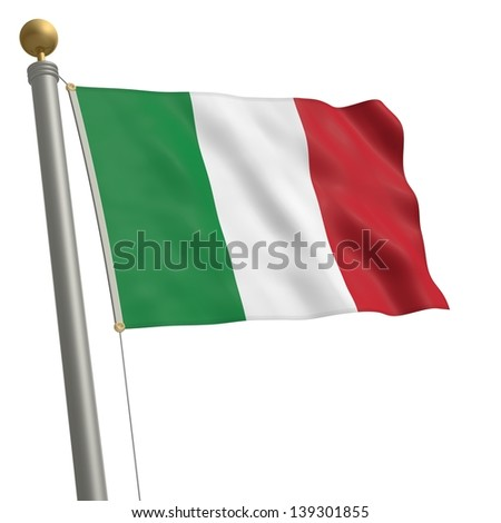 The flag of Italy fluttering on flagpole