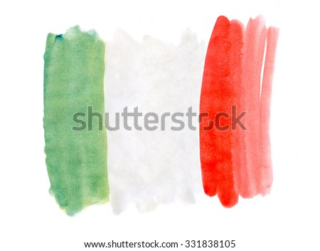 The flag of Italy, painted with watercolors