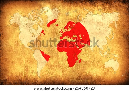 The flag of Japan in the outline of the world map - stock photo