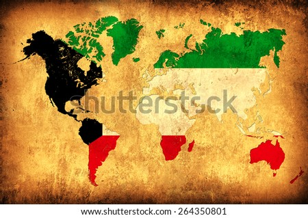 The flag of Kuwait in the outline of the world map - stock photo