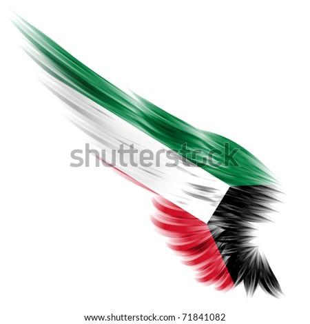 The flag of Kuwait on Abstract wing and white background - stock photo