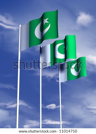 The flag of Pakistan flies in front of a blue sky