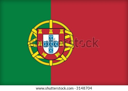 The flag of Portugal. (Original and official proportions). - stock photo