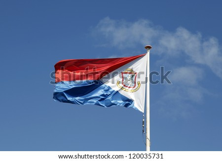 The flag of Sint Maarten  It  is the national flag of the Dutch part of Saint Martin island