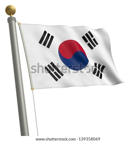 The flag of South Korea fluttering on flagpole