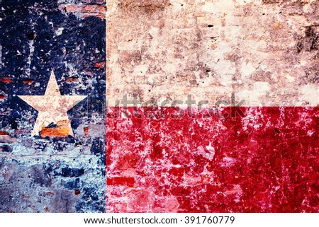 The flag of Texas, painted on the old wall - stock photo