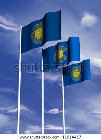 The flag of the Commonwealth flies in front of a blue sky