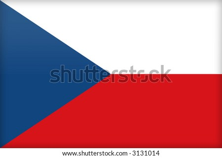 The flag of the Czech Republic. (Original and official proportions). - stock photo