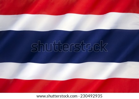 The flag of the Kingdom of Thailand - adopted on 28 September 1917, according to the royal decree issued by Rama VI.