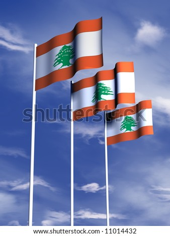 The flag of the Lebanon flying in a breeze - stock photo
