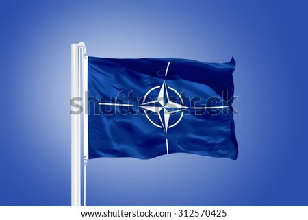 The flag of the North Atlantic Treaty Organization NATO.
