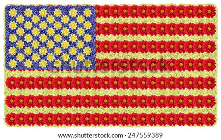 The flag of the United States of America is made from summer flowers. Abstract isolated collage