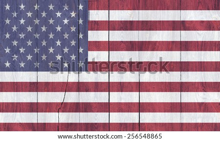 the flag of the United States on the boards - stock photo