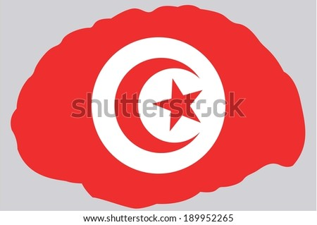 The Flag of Tunisia contained in a Brain