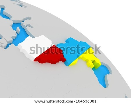 The Flag of Ukraine and Poland on the globe, 3D images - stock photo