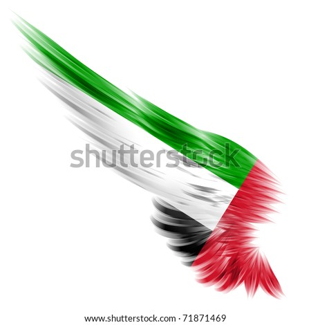 The flag of United Arab Emirates on Abstract wing and white background - stock photo