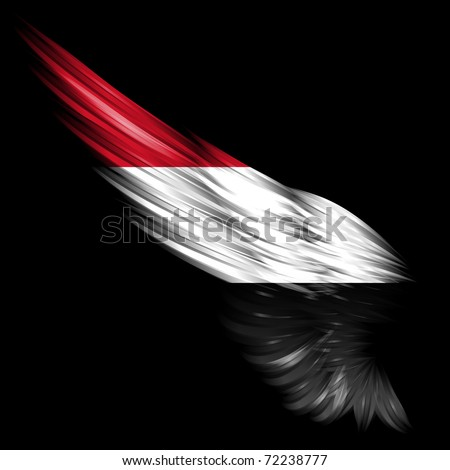 The flag of Yemen on Abstract wing and black background - stock photo