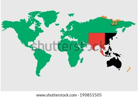 The flag of Zambia  in the outline of the world - stock photo