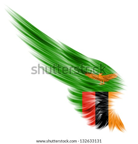 The flag of Zambia on Abstract wing with white background - stock photo