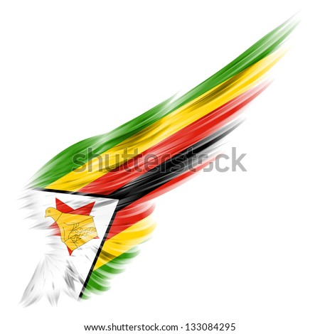 ... flag of Zimbabwe on Abstract wing with white background - stock photo