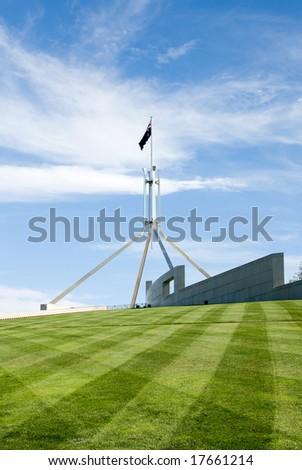 The flag pole above Parliament House, Canberra, Australia - stock photo
