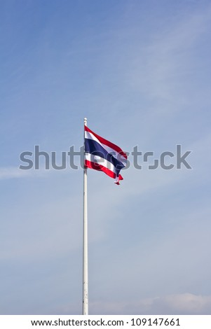 The flag  Thailand nation ,  blues sky and clouds. - stock photo