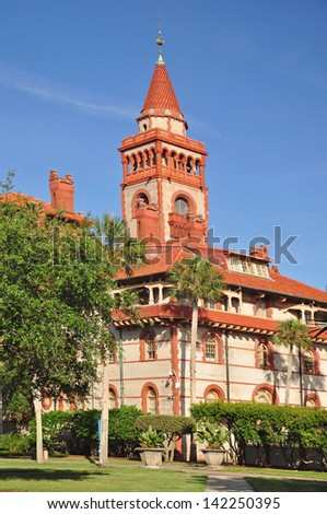 The Flagler College Building was originally the opulent Ponce de Leon Hotel. It is rated among the most beautiful college campuses in the country. - stock photo