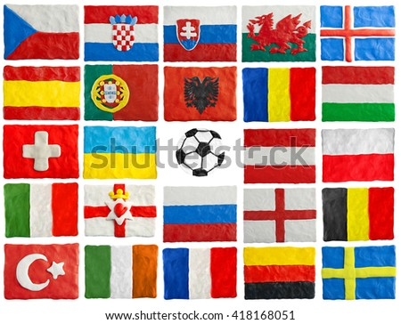 The flags of members of European championship - stock photo