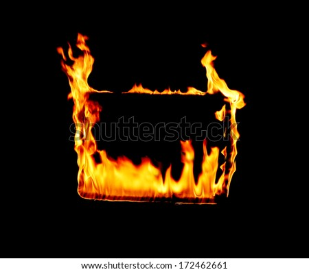 The flames engulfed the frame