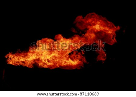 The flames on a black background - stock photo