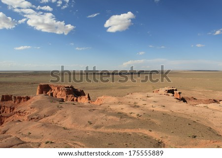 The Flaming Cliff of Bayanzag in the Desert of Gobi Mongolia