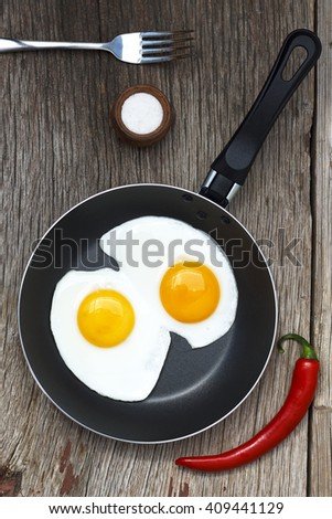 The flat layout. Fried egg in a frying pan. Close planom.Eda, food, diet, healthy food - stock photo